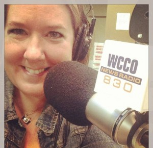 Amy on-air at WCCO radio in Minneapolis