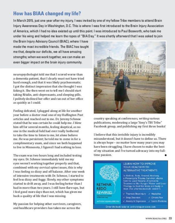 Amy Zellmer, brain injury association of america, advocate,